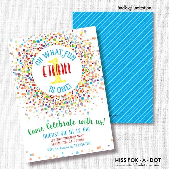 rainbow confetti birthday party invitation printable etsy