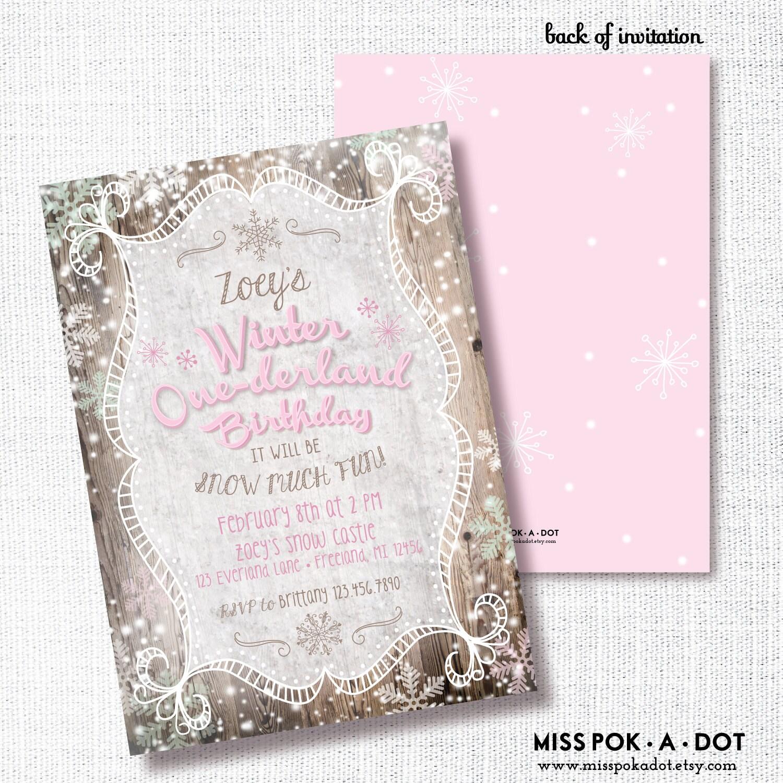 Winter Onederland Invitation Printable 1st Birthday Invite   Etsy