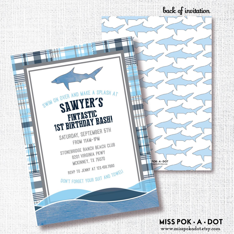 Shark Birhday Party Invitation Printable Preppy Boy Birthday | Etsy