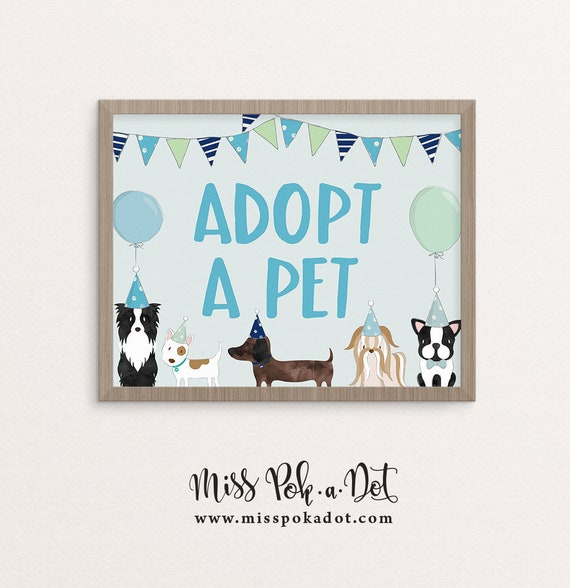 Adopt A Pet Sign Printable Blue Dog Birthday Party Puppy   Etsy