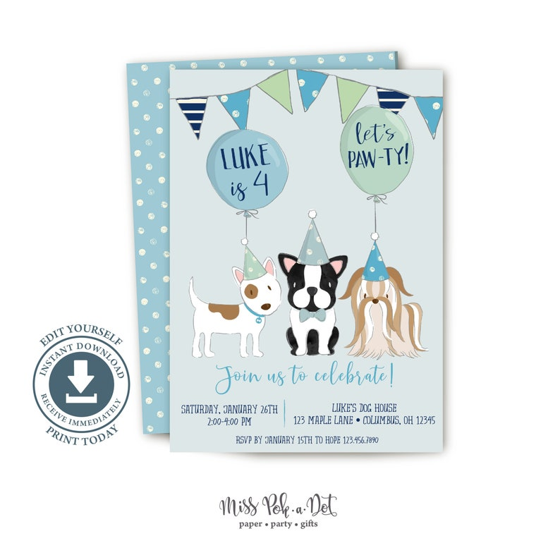 Puppy Dog Birthday Party Invitation Printable Invite Blue