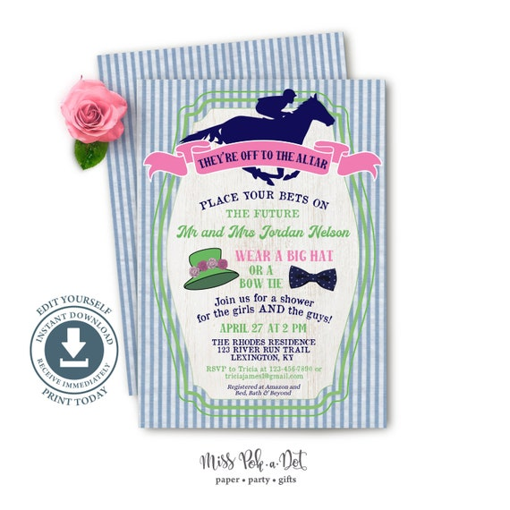 Party Races Southern Shower Wedding Couples Custom invitations Horse Derby