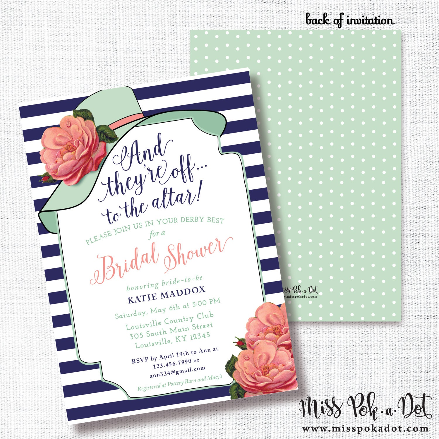 Big Hat Bridal Shower Invitation Printable They\'re Off | Etsy