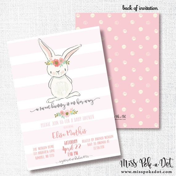 Bunny girl baby shower invitation printable pink rabbit etsy image 0 filmwisefo