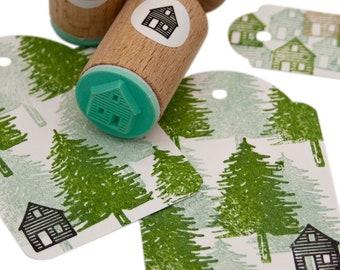 Wooden Cabin mini Stamp, wooden shed stamp, mini shed, hut rubber stamp, woodland, spring, shack stamp, cabin mini stamp