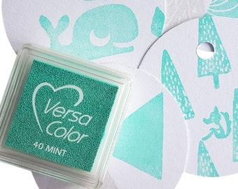 Versacolor Mint inkpad, Tsukineko versacolor mint ink pad, stamp ink mint mini color stamp ink