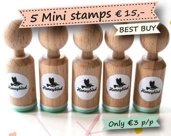 Mini ink Stamps Choose 5 out of more than 200 different designs - stamps for wedding - stamps for birthday - stamps for birth and baby