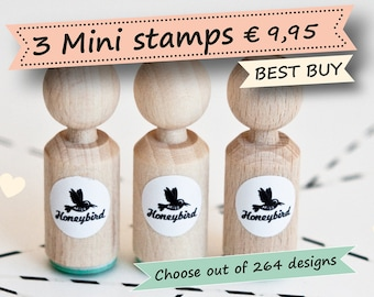 Mini ink stamps, Choose 3 mini stamps out of more than 200 different designs - wedding stamps, birthday stamps, baby stamps, animal stamps