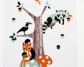 Kids poster with a raccoon, raven and squirrel sitting by their tree. Kids posters Friends of the forest for a kids room and baby nursery