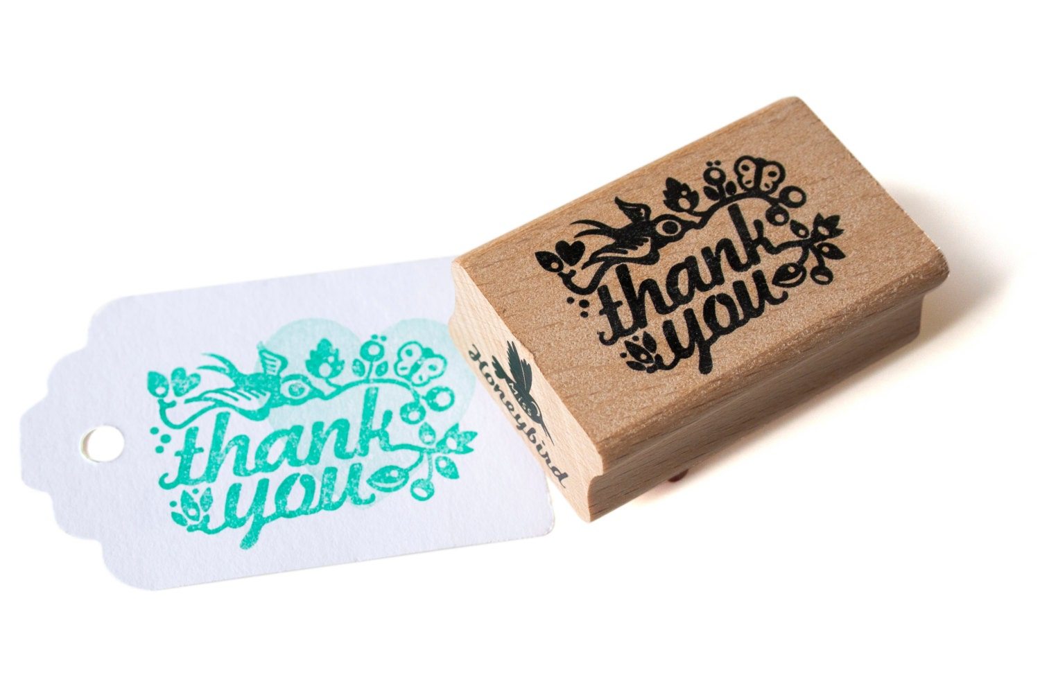 Thank You Rubber Stamp With Cute Bird Etsy