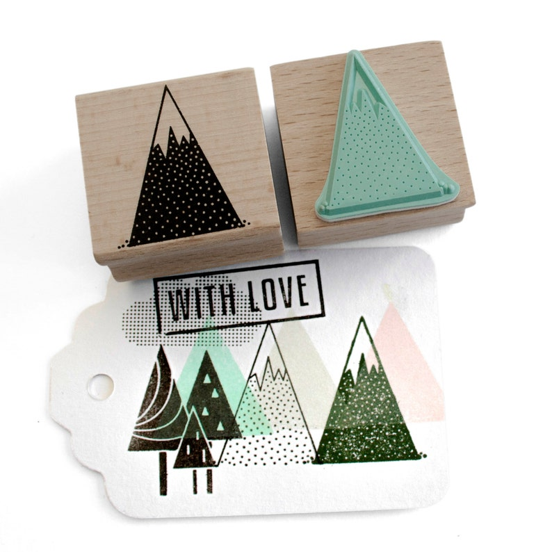 Mountain rubber stamp  solid mountain stamp with snow image 0