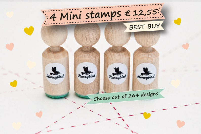 Mini ink Stamps  Choose 4 mini stamps out of more than 200 image 0