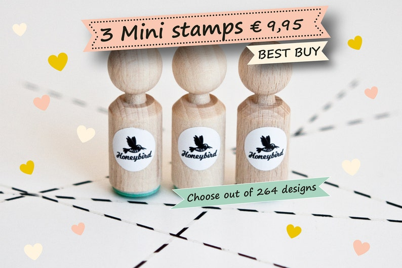 Mini ink stamps Choose 3 mini stamps out of more than 200 image 0