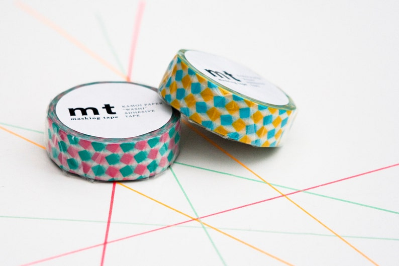 Masking Tape Square in Pink and Yellow MT masking tape image 0