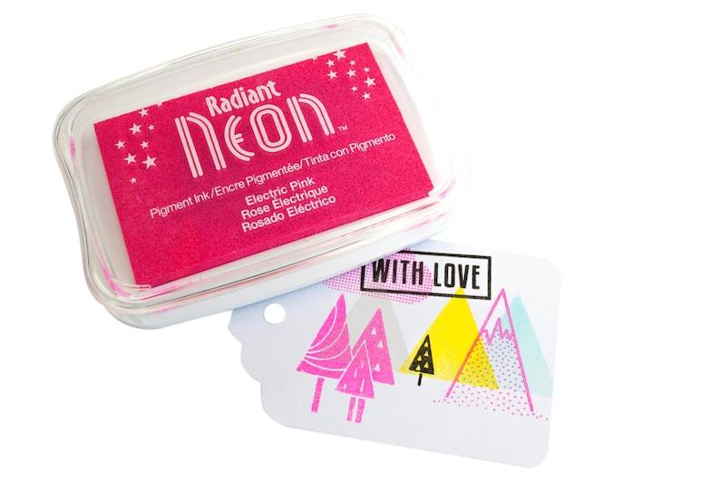 Neon Pink inkpad  Large  Tsukineko neon pink in pad stamp image 0