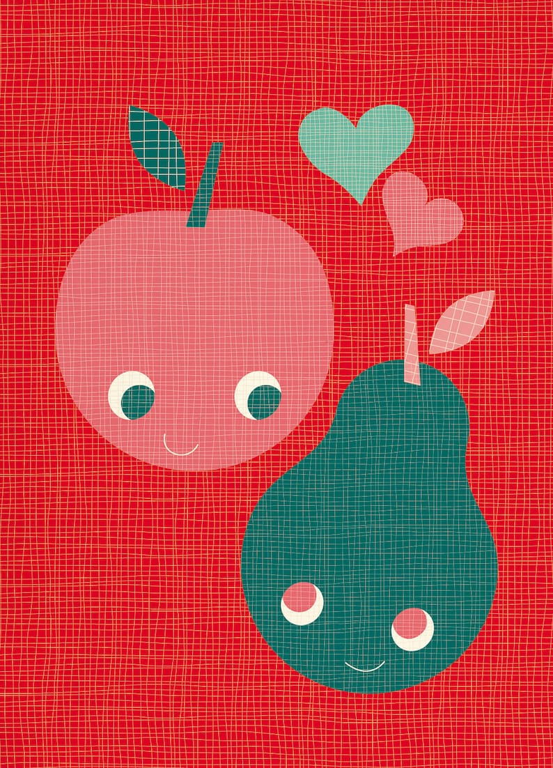 Valentine's Day Card  Apple & Pear in love image 0