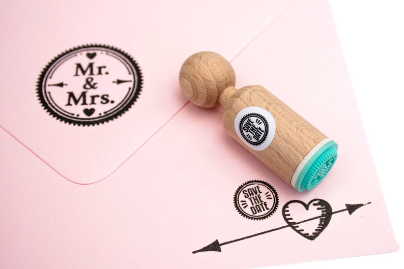 Save The Date mini Stamp with mint rubber image 0