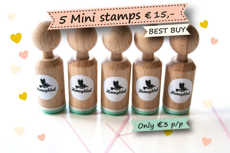 Mini ink Stamps Choose 5 out of more than 200 different image 0