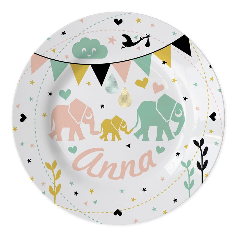 Custom plate Elephants with a name of your choice image 0