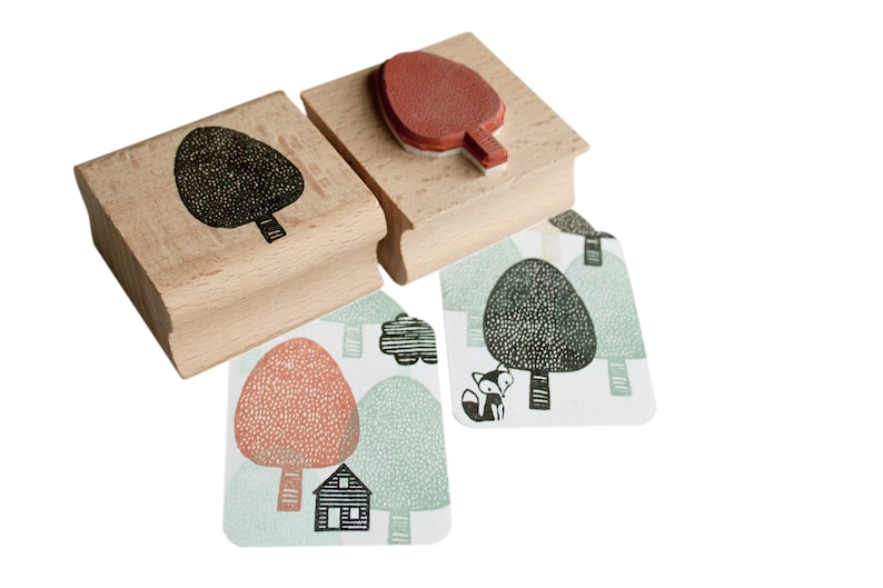 Round Tree stamp with spots / dots tree ink stamp tree image 0
