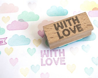 WITH LOVE dotted stamp