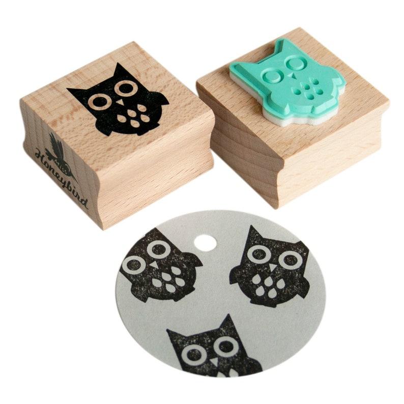 Owl stamp owl ink stamp owl rubber stamp animal stamp image 0