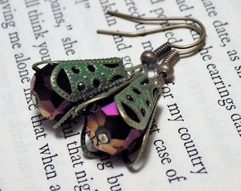 Purple and Verdigris Drop Earrings