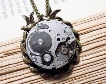 Antique Watch Movement Necklace