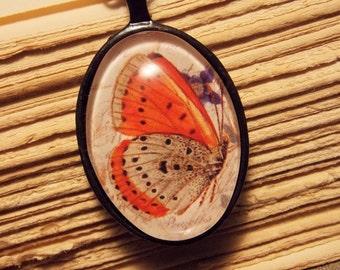 Glass Tile Butterfly Pendant