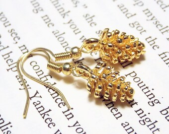 Gold Pinecone Earrings