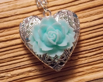 Blue and Silver Rose Locket