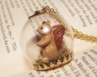 Squirrel Globe Necklace