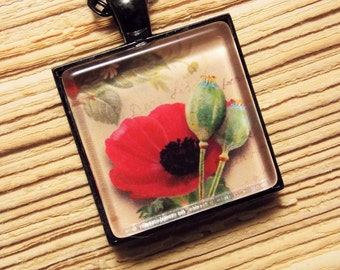 Glass Tile Necklace- Red Poppy