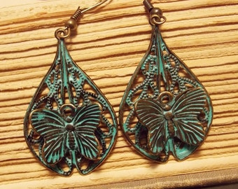Bronze and Verdigris Butterfly Earrings