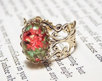 Pink and Green Flower Ring