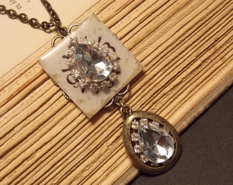 Vintage Inspired Crystal Steampunk Pendant