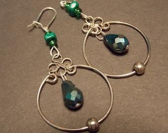 Four Leaf Clover Hoop Earrings