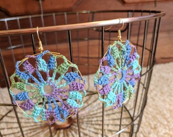Colorful Crochet Doily Earrings