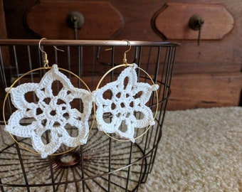 White Flower Doily Earrings