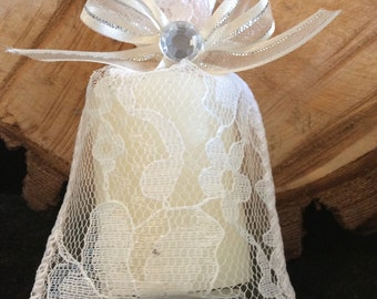 12-Cinammon scented miniture candle inside a lace bag with ribbon and rhinestone wedding baptism first communion party favor