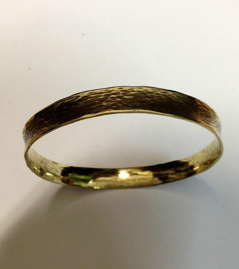 Yellow Brass Bangle Bracelet  Cleopatra Series image 1