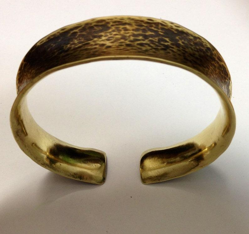 anticlastic yellow brass cuff bracelet Cleopatra Series image 1