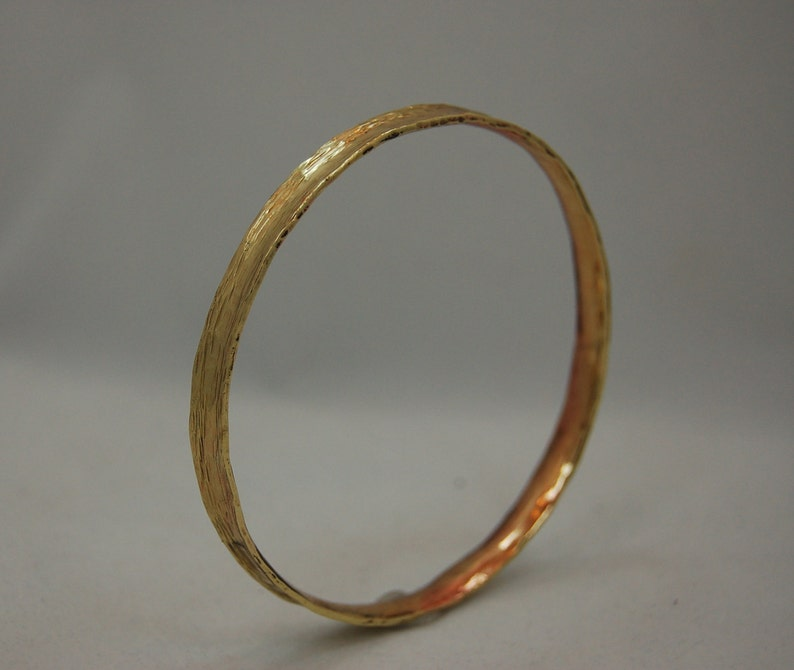 Brass Bangle Cuff Bracelet  with Hammer Texture image 1