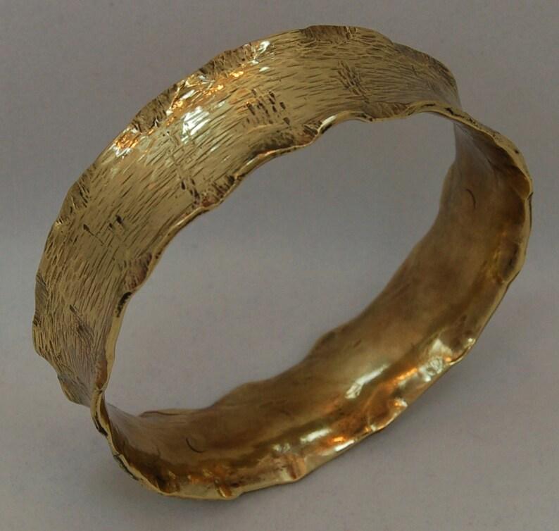Hammer Textured Wide Brass Cuff Bracelet image 1