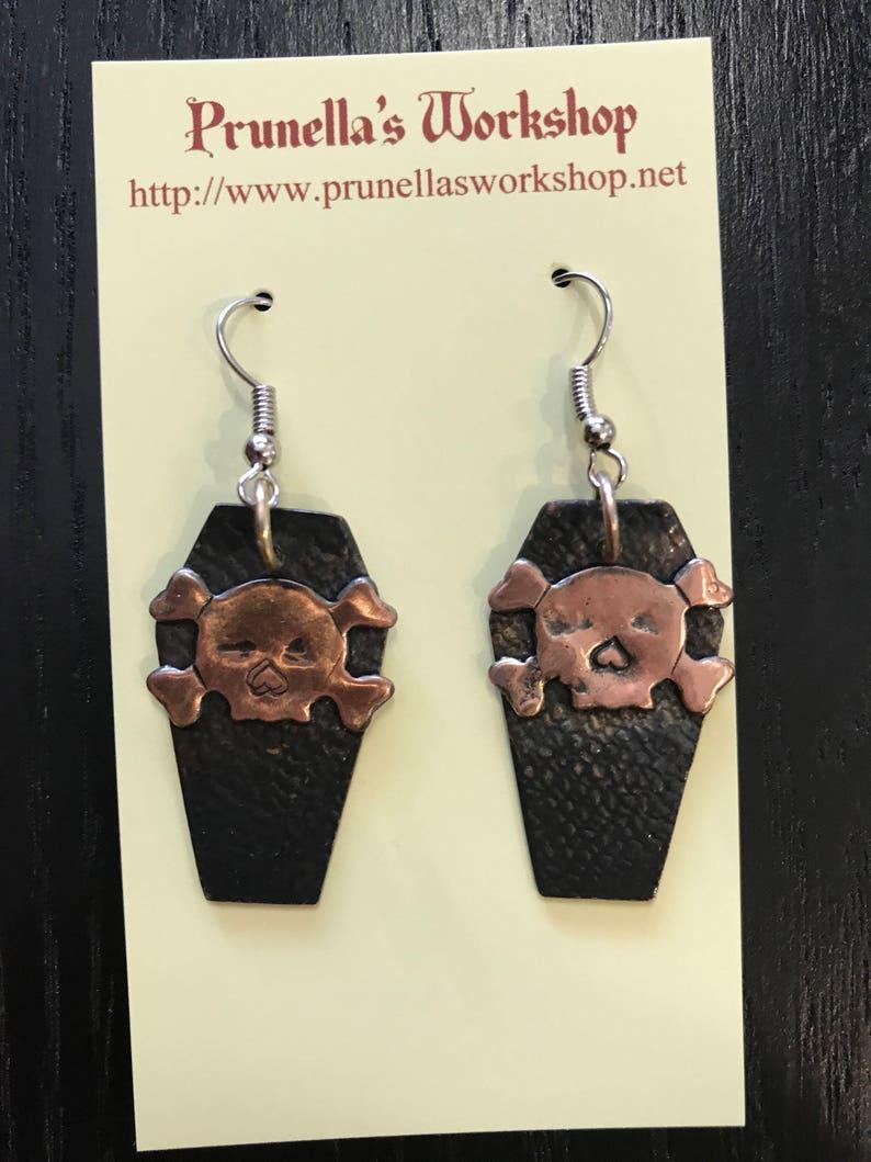 Copper Halloween Coffin Earrings image 0