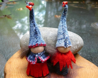 Blue Jean Gnome Peg Doll Children, Waldorf Wooden  Peg Dolls, Upcycled  Miniature Doll