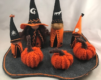 Wizarding Family, Adult Couple, with 2 children, Waldorf Peg Doll Family, Handmade Miniatures, Halloween Art