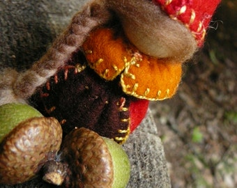 Autumn Gnome Lady, Waldorf Peg Dolls,  Small Handmade Waldorf Gnomes, Art Doll