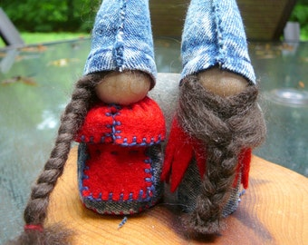 Blue Jean Gnome Peg Doll Couple, Waldorf Wooden  Peg Dolls, Upcycled  Miniature Doll