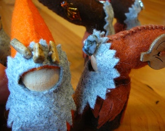 Autumn Gnomes, Walforf Inspired, Wool Felt Peg Doll Gnome, One of a Kind